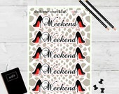 Planner Stickers Weekend Banner Red Bottom Black Heels