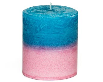 Hawaiian Breeze Plumeria Tropical Candle Pillar - Handmade - Blue and Pink