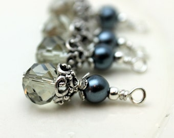 Vintge Style Gray Rondelle Crystal with Dark Gray Pearl and Ornate Silver Bead Dangle Charm Drop Set - Earring Dangle, Charm, Drop, Pendant