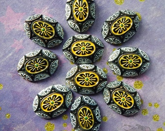 Vintage Glass Cabochons - 18 x 25 mm Oval Black Yellow and White Geometric Deco Floral Design - West German Glass Cabs (2 pc)