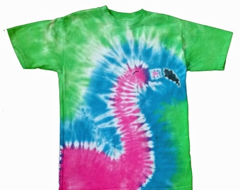 Flamingo Shirt in Blue, Green and Flamingo Pink Tie Dye-Tie Dye Shirt-Flamingo Shirt