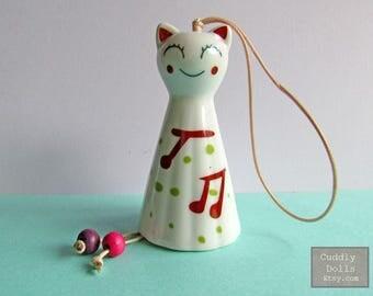 CAT Bell Little Kitty Small Pet Animals Miniature Ceramic Figurine,Cat Collector,Porcelain Cat Figurine,Porcelain Figurine,Small Bell