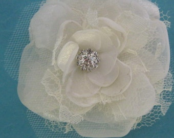 Bridal Hair Flower,  Ivory Lace, Organza and Tulle Rose Hair Clip  K050, bridal hair accessory