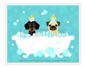 318D Dog Print - Dachshund Dog and Fawn Pug in Bubble Bath Wall Art - Dog Wall Art - Dachshund Print - Pug Art Print - Dog Bath Art