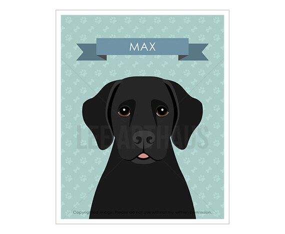 20N Dog Drawing - Personalized Black Labrador Retriever Wall Art - Dog Nursery Decor - Black Lab Print - Labrador Art - Dog Portrait