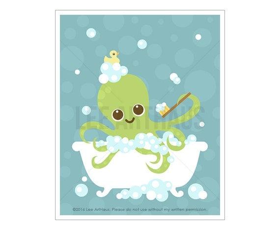 42A Bath Art - Octopus in Bubble Bath Wall Art - Nautical Nursery Print - Octopus Print - Bathroom Decor - Bath Print - Bathroom Artwork