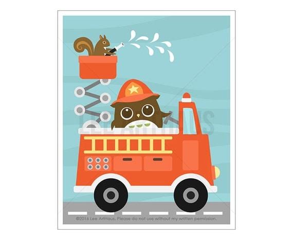 101A Baby Boy Nursery Decor - Owl and Squirrel in Firetruck Wall Art - Fire Truck Print - Fire Engine Print - Owl Print - Blue Chevron Print