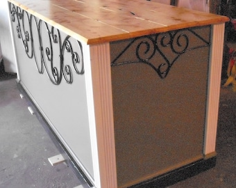 Ornate Gray and Red Store Counter/ Kitchen Island