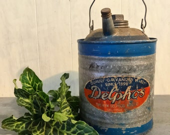 vintage Delpho's gas can - galvanized metal oil can - automotive collectible - rustic metal decor