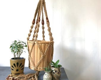 large macrame plant hanger - natural jute plant holder with wood beads - bohemian decor