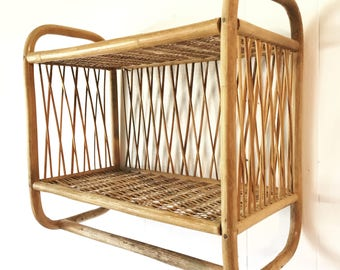 vintage bamboo wall shelf with towel bar - two level rattan storage - wicker bathroom shelf