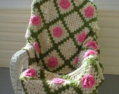 RESERVED FOR MONA Vintage Afghan Pink Roses Crocheted Throw Blanket Granny Square Vintage 70X46