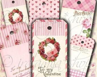 SALE ANTIQUE VALENTINE Tags Printable Digital Images -printable download file- Valentines Day Tags -Printable Valentine Tags-digital  downlo