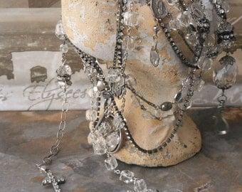 Vintage Sterling Crystal Rosary Necklace Let it Shine Shine Shine