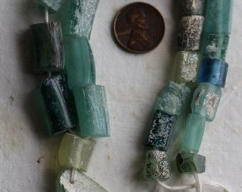 ANCIENT ROMAN GLASS No. 237 .. Genuine Antique Roman Glass Fragment Beads (rg-237)