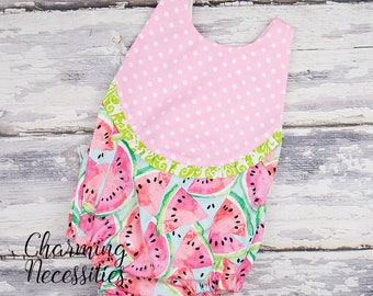 NEW Watermelon Summer Bubble Romper, Baby Girl Clothes,  Pink Aqua Green, Trendy Boho Outfit by Charming Necessities