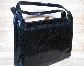 Sale Snakeskin Handbag, Black Purse, Vintage Pocketbook, 1940s