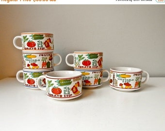 Sale Vintage Soup Bowls with Handles, Soup Mugs, 7 Soup Cups