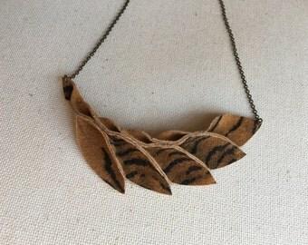 Petal Collection:   Tiger pattern Petals suede Necklace