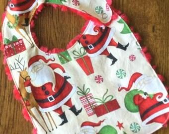 Santa and His Reindeer Christmas Minky Baby/Toddler Bib