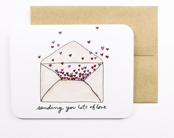 Sending you lots of love card with envelope | Hearts | Send love | Greeting card | Envelope of hearts | Valentine | Wedding card