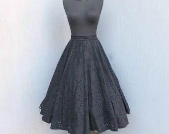 Vintage 1950s Circle Skirt, Smart Set Sportswear, Circle Skirt, Rockabilly, Black Eyelet Skirt, Full Skirt, 50s, Be Bop