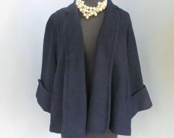 Vintage 1940s Jacket, Fashioned by Bromleigh N. Y., Ella's Sacramento, Navy Blue w/Cuff Sleeves, Ladies Wool Swing Style Jacket, Medium