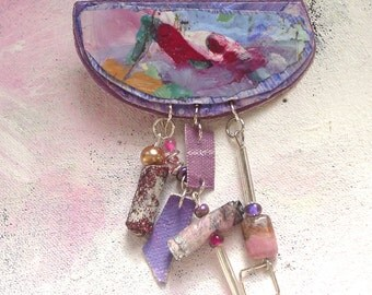 Melody brooch upcycled artist palette in summer colors