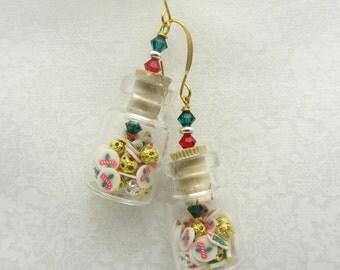 Mini Bottle Earrings Christmas Bottle Earrings Tiny Candy Canes Christmas Trees and Snowflake Bottle Earrings Small Jar Earrings SRAJD