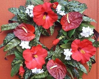 Tropical Wreath....Hibiscus Wreath......Holiday Wreath ...Luau
