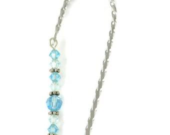 March Bookmark - Aquamarine, Hook Bookmark, Crystal Bookmark
