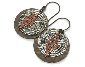 Mixed Metal Stamped and Painted Boho Earrings