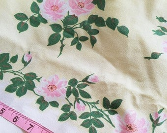 Vintage Simtex Tablecloth, Yellow Pink White, Made in America, 57x72