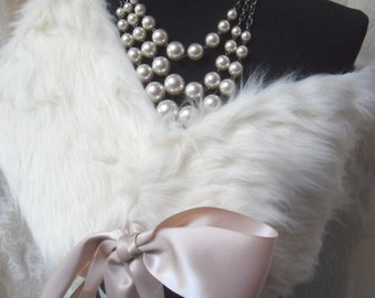 25% OFF Love my customers WRAP Faux Fur Ivory Shawl Weddings Proms Whimsical Dress Up - Ivory