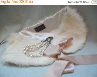 30% OFF Spring Cleaning WRAP Faux Fur Ivory Shawl Weddings Proms Whimsical Dress Up - Ivory