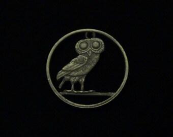 GREECE - Cut Coin Pendant w/ Athenian Owl - 1973