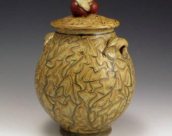 Ash Glazed Stoneware Jar With Acorn Knobs and Carved Oak Leaves