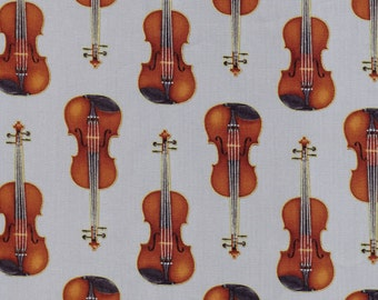 One (1) Yard- In Tune Metallic Violins by Robert Kaufman Fabrics SRKM-15660-186 Silver