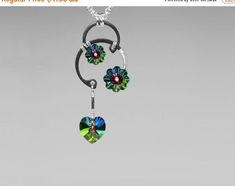 Vitrail Medium Swarovski Crystal Pendant, Green Swarovski, Swarovski Necklace, Industrial Jewelry, Space Jewelry, Pulsar v12