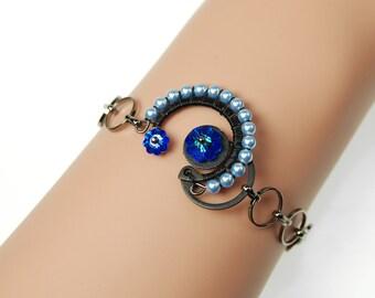 Blue Swarovski Steampunk Bracelet, Swarovski Pearls, Steampunk Jewelry, Crystal Jewelry, Swarovski Bracelet, Youniquely Chic, Skylla IV v3