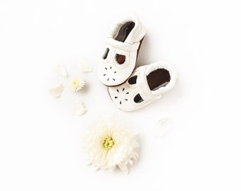 White T-STRAPS  Soft Soled Leather Shoes Baby and Toddler //Free Shipping in USA// Starry Knight Design
