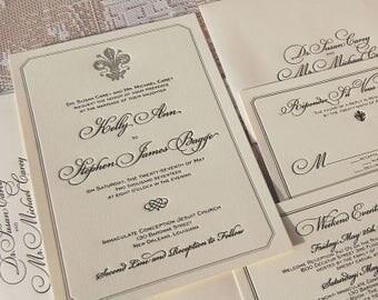Letterpress Wedding Invitation, Wedding Invitation, Classic Wedding, Elegant Wedding, Calligraphy, Classy Wedding, Fleur de Lis Wedding