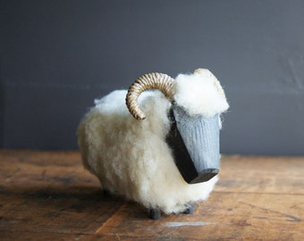 Vintage Blackface Sheep Figurine Made in Scotland Real Wool and Wood Construction Spring Decor Fiber Art