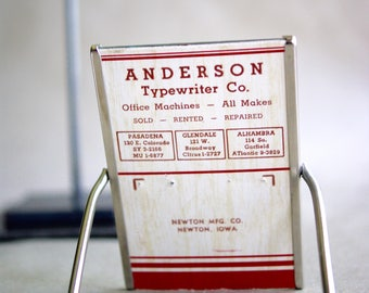 Vintage Advertising Mirror Promotional Giveaway Anderson Typewriter Company Newton Iowa Metal Standing Frame