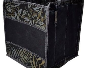 Home Storage Organizer Pencil Box in Black and Grey Batik