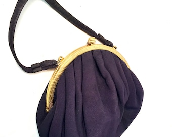 NAVY Purse Vintage Navy  Satin Pouch Bag Purse peach Satin lined wtih Brush Gold Band and Fancy Gold Clasp matching coin purse