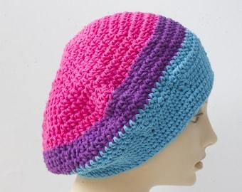 Cotton Pride Slouchy Beanie Hat, Bisexual Flag, Pink, Purple, Blue, Custom Chose Pride Colors