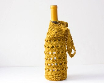 Wine Bottle Bag, Hostess Gift, Gold Wine Tote, New Year's, Wine Cozy, Holiday Wrap,  Hand Crocheted