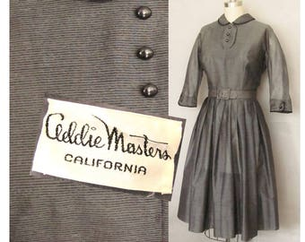 Addie Masters / 1950s California Designer / Gray day dress / Collectible Vintage Fashion / Small size