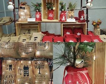 Burlap Bag, Burlap Lights, Burlap Bag with Lights, Burlap Lighting, Prim Lighting, Rustic Lighting, Burlap Monogram, Christmas Burlap